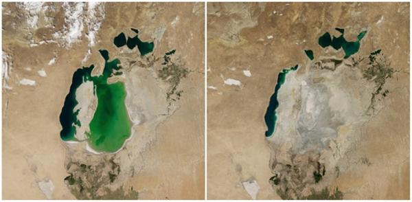 Biển Aral, Trung Á(08/2000 - 08/2014)