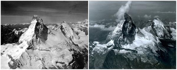 Núi Matterhorn nằm trong dãyAlps, thuộc vùng biên giới giữa Thụy Sĩ vàItalia (08/1960 - 08/2005)