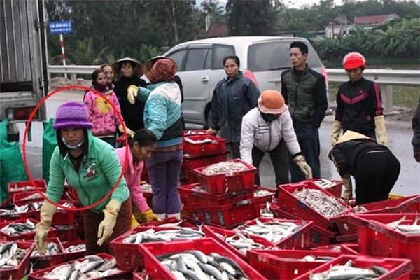 Thay vì vơ vét cá làm của riêng thì người dân xung quanh đã nhanh chóng giúp đỡ tài xế thu dọn và chất vào thùng.