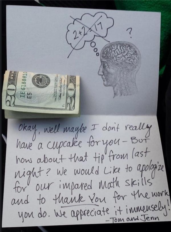 Họ đã để lại lời xin lỗi cho sơ suất của mình cùng 20 USD tiền tip.