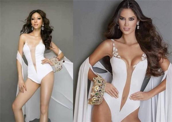 Dù phía ekip của Khả Trang chưa công bố hình ảnh chính thức trong quá trình chuẩn bị của cô nhưng một số hình ảnh hậu trường đã bị lộ trên mạng xã hội. Trong đó, bức ảnh Khả Trang chụp với bikini bị nhận xét giống đến 90% của Hoa hậu Hòa bình Quốc tế Venezuela 2016 từ thiết kế đến cách tạo dáng.