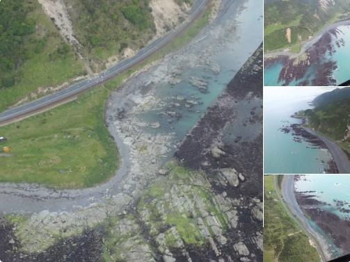 Nhữngmảng kiến tạo dưới đáy biển trồi rõlên sau động đất. (Ảnh: Twitter TonkinTaylor)