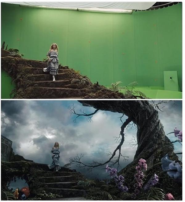 Nàng Alice của Alice in Wonderland đang tưởng tượng bước đi giữa xứ sở thần tiên, nhưng thực ra là giữa các phông xanh trong phim trường.