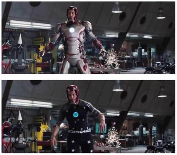 """Trang phục giáp sắt củaIron man tưởng như được may rất cầu kỳ nhưng thực tế chỉ là """"ảo"""" mà thôi."""