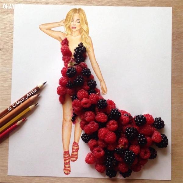 Đôi khi là trái cây lại là nguồn cảm hứng bất tận cho anh chàng họa sĩ tài năng này.