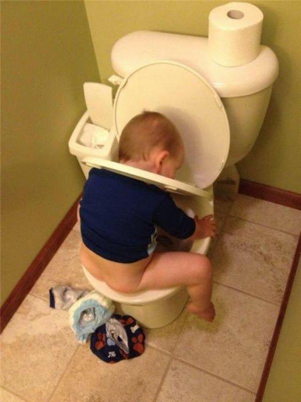 Toilet thì cũng giống như bồn tắm thôi mà. Có thể cho tay chân vào quậy phá trong đó suốt cả ngày.