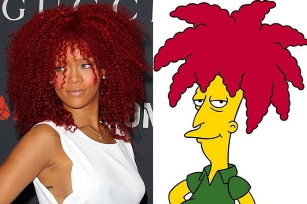 Hẳn cô nàng Rihanna rất yêu thích bộ phim hoạt hình gia đình Simpson thì mới chọn kiểu đầu này. (Ảnh: Internet)