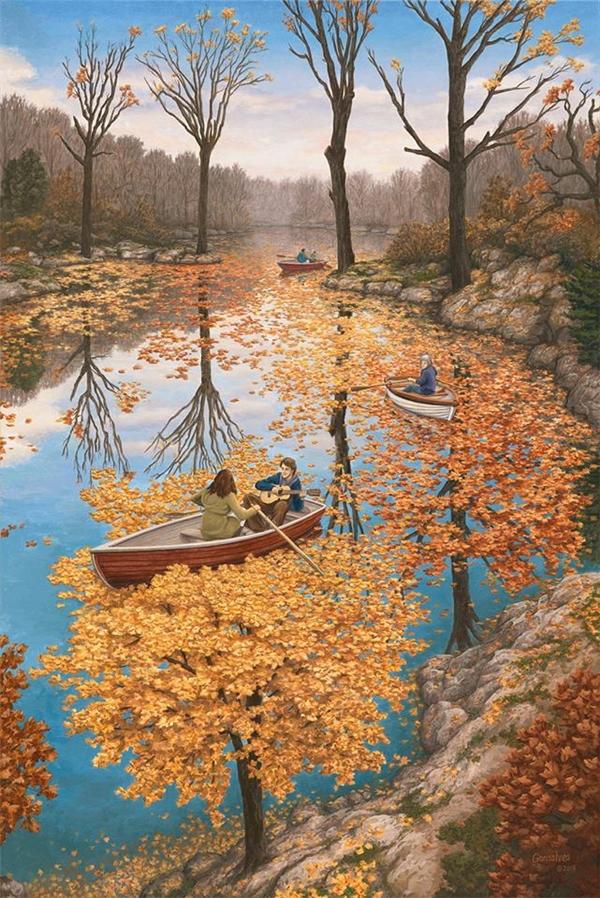 Vào thu, trời và đất hòa làm một vì những sắc màu huyền ảo của lá thu.