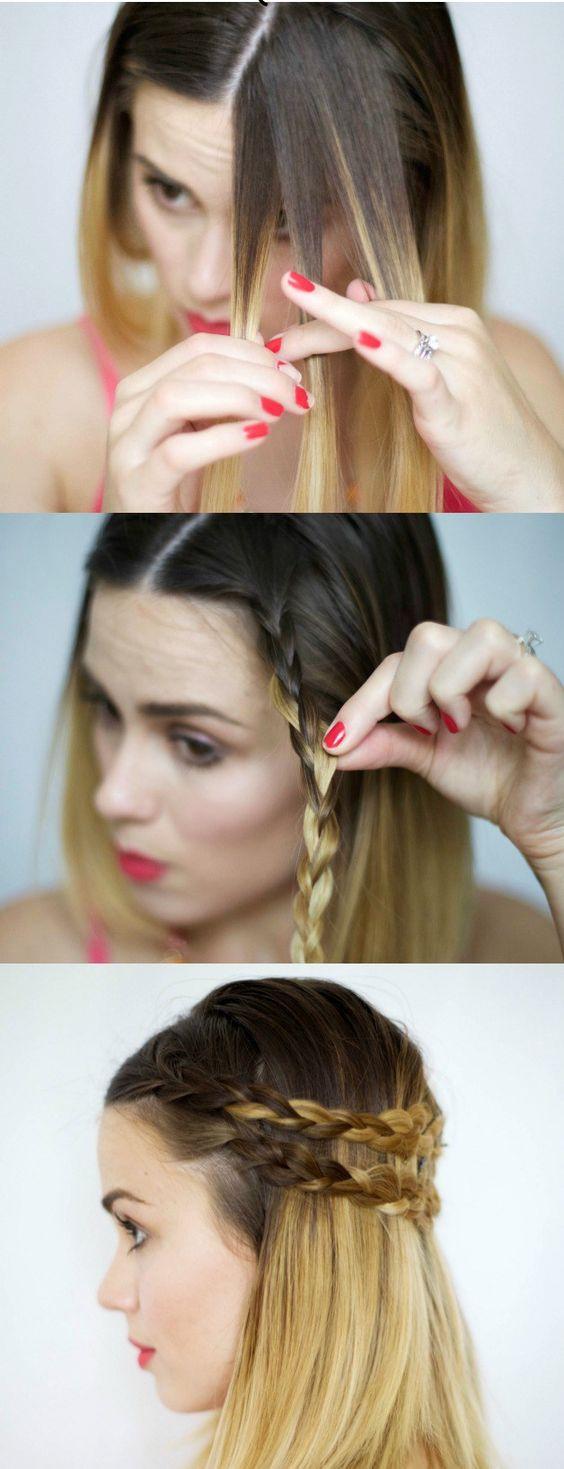 Mái tóc ngắn sẽ trở nên duyên dáng hơn nhờ một vài bím thắt nhỏ một bên mái.