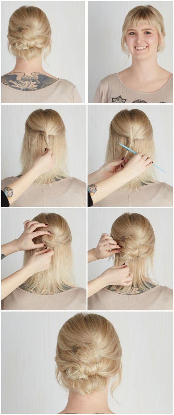 """Với tóc ngắn, không gì là không thể, kể cả kiểu búi tóc tưởng như """"khó nhằn"""" trên."""