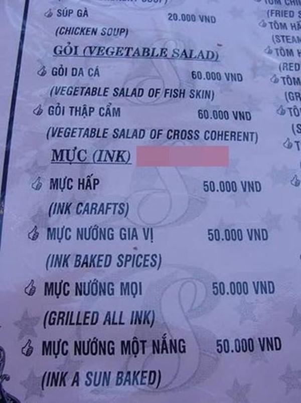 Khi thực đơntiếng Việt được chủ quán dịch sang tiếng Anh.(Ảnh: Internet)