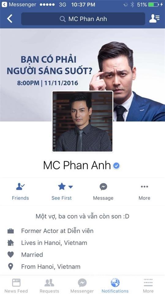 Hiện, chỉnhững ai kết bạn với nam MC thì vẫn truy cập được vào facebook của anh, riêng nhữngngười ở trạng tháitheo dõi (follower) thì không truy cập được. - Tin sao Viet - Tin tuc sao Viet - Scandal sao Viet - Tin tuc cua Sao - Tin cua Sao