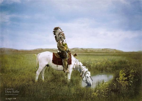 Một thổ dân có tên Chim Ưng Đỏ (Red Hawk) thuộc bộ lạc Oglala Sioux ở Nam Dakota, Mỹ, 1905.
