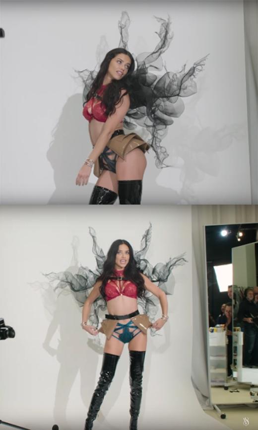 Thiên thần Adriana Lima gợi cảm và đầy bí ẩn với đôi cánh đen sau lưng.