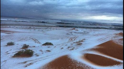 Cảnh tượng tuyết trắng xen lẫn với cát giữa sa mạc trung tâm và các bang phía Tây Bắc khiến người dân cảm thấy thích thú hơn bao giờ hết.