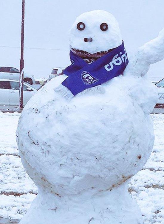 Người Tuyết mà được trang trí bên vệ đường.