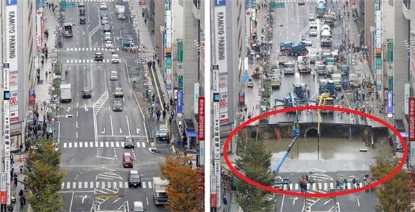 Hố tử thần ở Nhật Bản xuất hiện lần đầu vào ngày 8/11. (Ảnh: internet)
