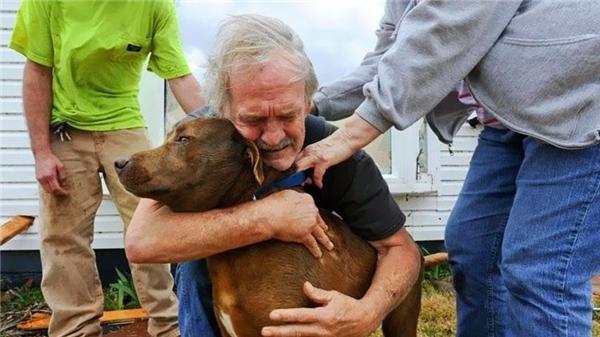 #11 Một người đàn ông tên Greg Cook ôm cô cún Coco trong đống đổ nát của căn nhà do trận lốc xoáy quét qua Alabama vào tháng 3/2012.(Ảnh: Life Buzz)