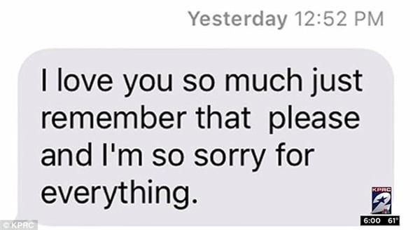 Tin nhắn cuối cùng cô gái gửi cho gia đình trước khi tự kết liễu đời mình.