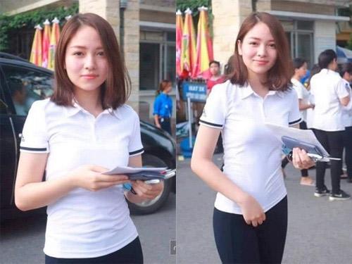 Hiền Giang gây chú ý tại điểm thi Đại học Bách Khoa (Hà Nội) nhờ diện mạo nổi bật và làn dan trắng sáng.