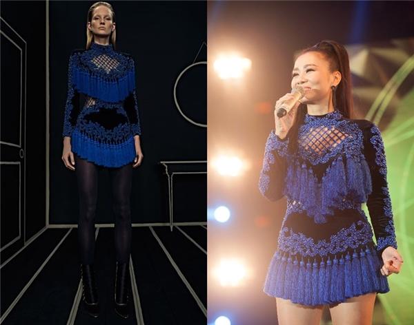 Nổi tiếng với độ chịu chi cho những bộ cánh hàng hiệu đắt đỏ nhưng trong đêm chung kết Vietnam Idol 2016, Thu Minh lại bị nghi mặc hàng nhái. Theo đó, bộ cánh của nữ ca sĩ có những chùm tua rua không đều nhau, trông kém mượt mà, trong khi đó, thiết kế của Balmain lại có chiều dài tua rua đồng đều và suôn mượt, tạo cảm giác mướt mắt.