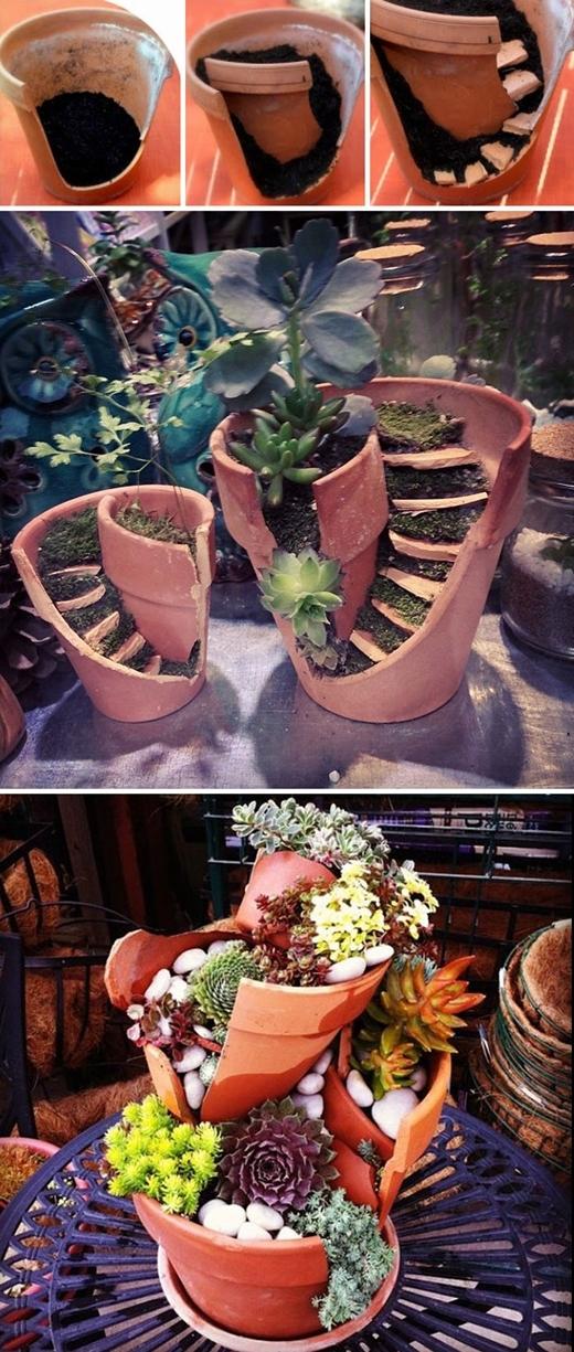 """Dùng các mảnh vỡ chậu hoa để trang trí thành cầu thang, hoặc xếp chồng các chậu vỡ lên nhau để tạo nên một chiếc bình """"có một không hai""""."""