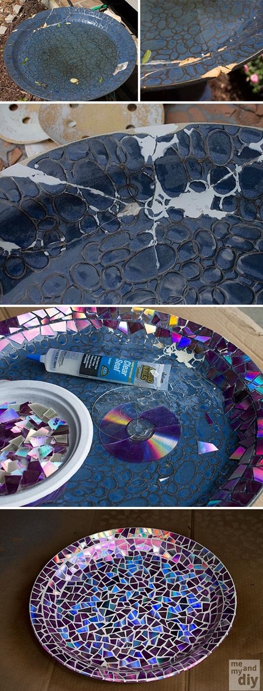 """Những chiếc đĩa cũ kỹ giờ đây đã có thể được tân trang """"hoành - tờ - ráng"""" và bóng loángchỉ bằng cách bẻ nhỏ các mảnh CD và dán lên bề mặt."""