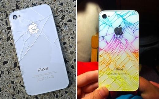 Lỡ tay làm mặt kính phía sau Iphone vỡ tan tành? Chớ vội lo, hãy bơm mực từ bút dạ quang vào các kẽ hở để thấy điều kỳ diệu nhé!