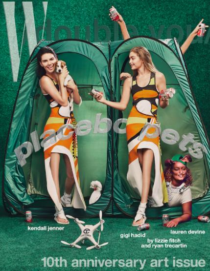 """Trên bìa tạp chí W, hai cô nàng Gigi Hadid và Kendall Jenner được """"đánh bóng"""" đôi chân đến nỗi mất luôn cả đầu gối."""
