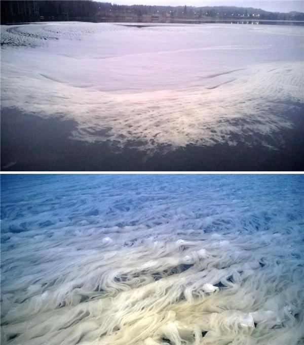Theo các nhà khoa học dự đoán, chính sự chuyển động của gió và nước đã tạo ra hiện tượng này - vào thời điểm tuyết chuẩn bị tan chảy.