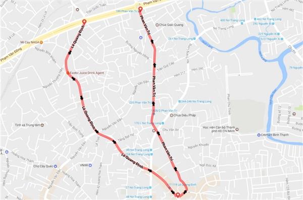 Đối với tuyến đường Lê Quang định, lưu thông sẽ chuyển về một chiều từ đường Phạm Văn Đồng đến đường Phan Văn Trị, còn ở tuyến ngược lại, đường Phan Văn Trị sẽ lưu thông một chiều từ đoạn Lê Quang Định đến Phạm Văn Đồng.