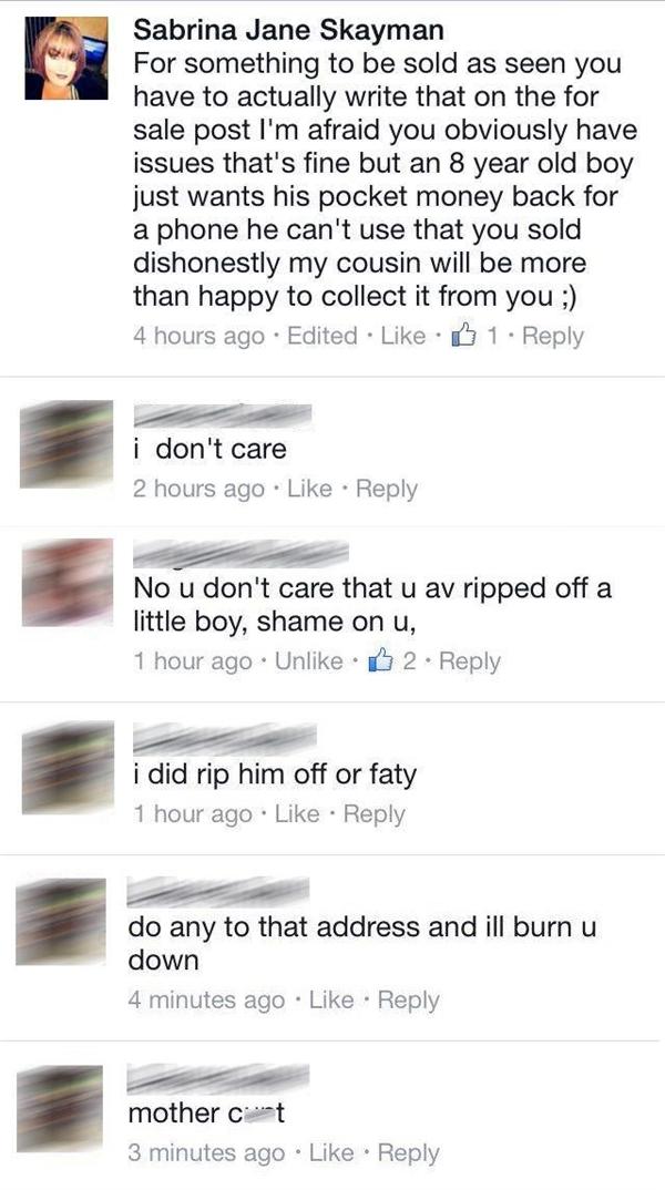 Mẹ của cậu bé đã liên lạc với người bán điện thoại thế nhưng người đàn ông đã từ chối hoàn tiền và trả lời rằng anh ta không quan tâm.