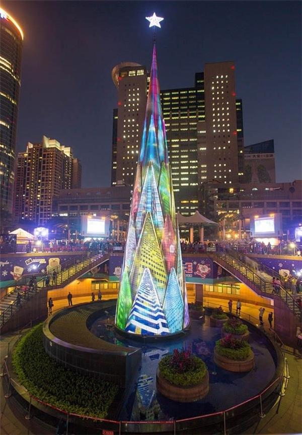 Vẻ đẹp hiện đại của cây thông ở Đài Bắc, Đài Loan.