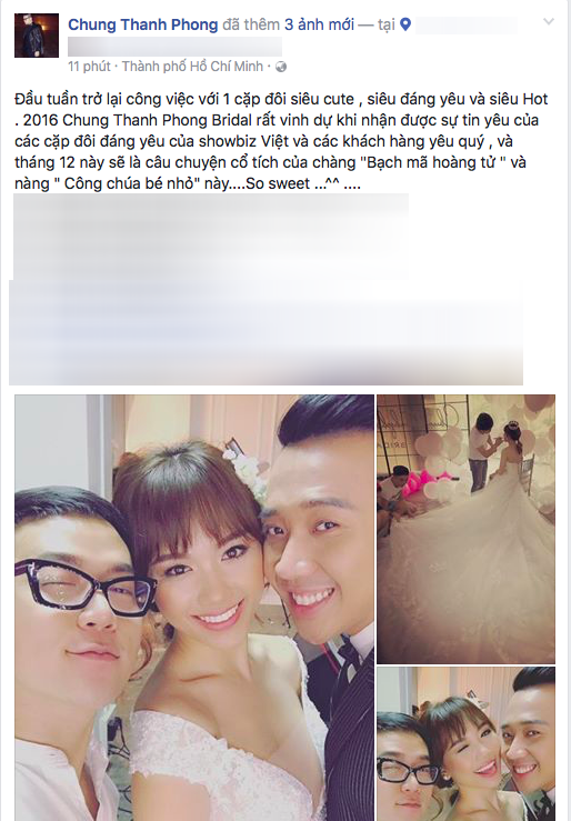 . Ảnh hậu truờng chụp ảnh cưới của cặp đôi Trấn Thành - Hari Won được chia sẻ trên trang cá nhân của nhà thiết kế Chung Thanh Phong. - Tin sao Viet - Tin tuc sao Viet - Scandal sao Viet - Tin tuc cua Sao - Tin cua Sao