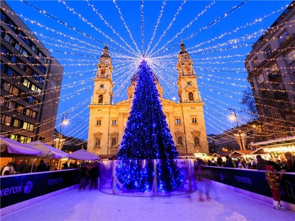 Cây thông này hàng năm đềuđược dựng trước nhà thờ St. Steven Basilica. Không chỉ là điểm đến Giáng Sinh của người dân trong vùng, nôi đây còn thu hút gần 1 triệu lượt thăm quan hàng năm.