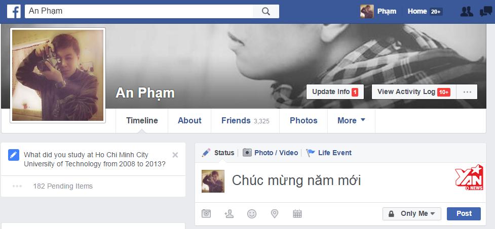 """Nhập dòng chữ """"Chúc mừng năm mới"""" hoặc """"Happy New Year"""" vào phần status hoặc comment (bình luận) trên facebook."""