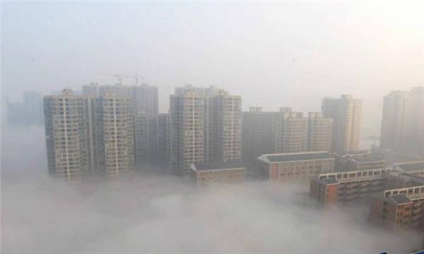 Lớp sương mù do ô nhiễm bao phủ toàn bộ thành phố Trường Sa (Hồ Nam, Trung Quốc). (Ảnh: Wittyfeed)