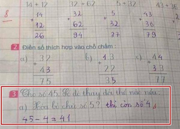 Nếu số 45 xóa đisố 5, số còn lại không phải là 4 thì là số mấy?(Ảnh: Internet)