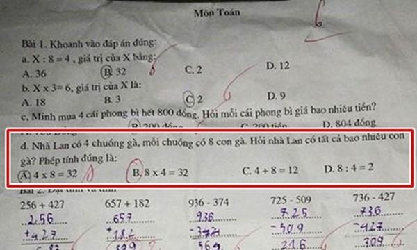 Phải chăng ý của cô giáo là 8x4=32 mới đúng, còn4x8=32 là sai bét ư?(Ảnh: Internet)