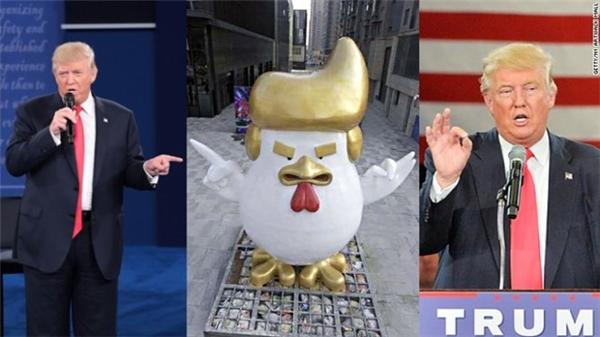 Bức tượng gà trống có điệu bộ giống ông Donald Trump.