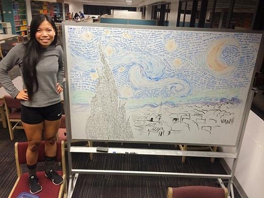 """Trương Vân gây sốt bằng """"bức tranh"""" đầy chữ hết sức nghệ thuật của mình."""