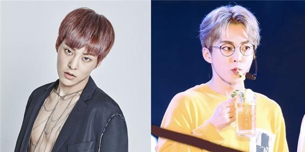 Thêm một thành viên khác của EXOchuộng kiểu tóc thời thượng nàylà anh cả Xiu Min, không thể phủ nhận rằng bộ đôi tóc hai mái cùng với màu tóc bạch kim đã khiến nam ca sĩ lên đời nhan sắc đáng kể.
