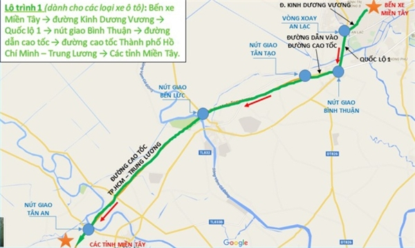 Lộ trình 1 (dành cho các loại xe ôtô): Bến xe Miền Tây >đường Kinh Dương Vương > Quốc lộ 1 > nút giao Bình Thuận >đường dẫn cao tốc >đường cao tốc TP HCM >Trung Lương >các tỉnh miền Tây.