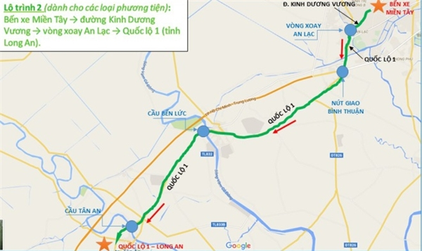 Lộ trình 2: Bến xe miền Tây -> đường Kinh Dương Vương -> vòng xoay An Lạc -> Quốc lộ 1 (tỉnh Long An).