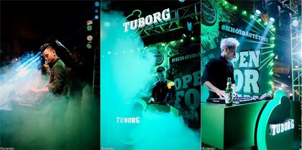 """Mỗi đêm, Tuborg còn mang đến một bất ngờ với set nhạc """"khủng"""" từ các DJ đình đám: SlimV, Get Looze và Minh Trí."""