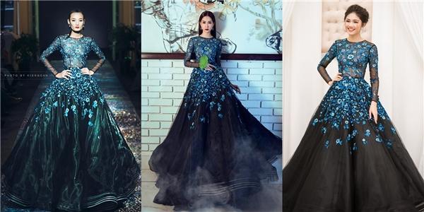 Nếu như Thu Thảo, Thanh Tú ngọt ngào, trong veo khi diện bộ váy xòe kết hợp họa tiết hoa thêu tay màu xanh lam thì Lê Thúy lại ấn tượng hơn trên sàn diễn.