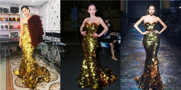 """Minh Triệu, Tóc Tiên, Maya và """"cuộc chiến"""" bất phân thắng bại với thiết kế đuôi cá màu vàng ánh kim nổi bật. Tuy nhiên, cách phối thêm áo khoác của Maya trông có phần nặng nề, kém thanh thoát."""