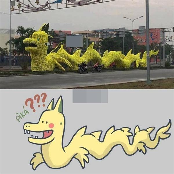 Hình biếm họa rồng lai Pikachu xuất hiện trên mạng.