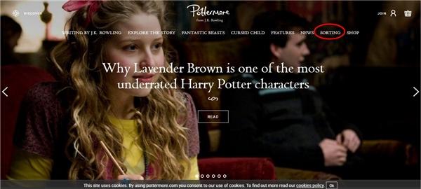 Giao diện trang Pottermore.