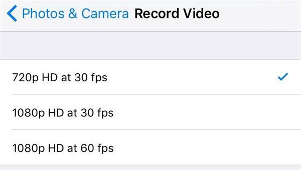 Chọn chất lượng vừa phải để quay video.